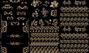 金色豪华尊贵花纹图案等矢量素材V3