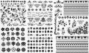 黑白装饰花纹图案与分割线矢量素材