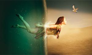 冲出海面的创意人像PS教程素材