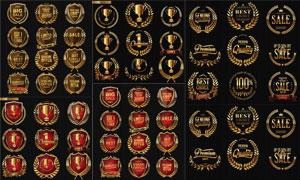 金色與紅色獎章紋章等標簽矢量素材
