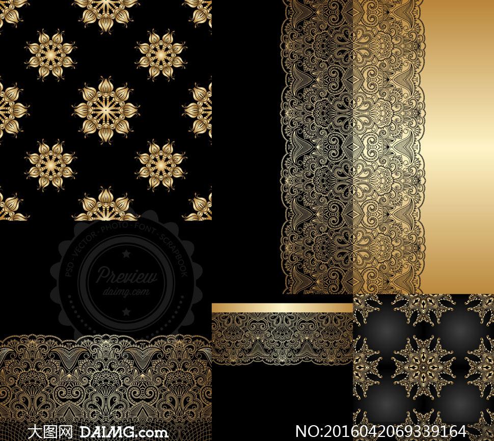 素材图案背景花纹花边装饰金色黑色白描线描镂空四方