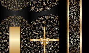 金色的花纹图案与蝴蝶结等矢量素材