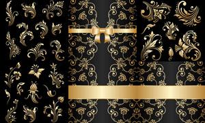 金色植物花纹装饰图案主题矢量素材