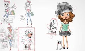 手绘插画风可爱女孩人物矢量素材V2
