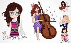 可爱女孩插画人物主题矢量素材集V3