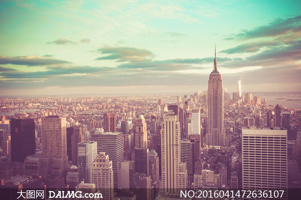 复古风格城市建筑景观摄影高清图片