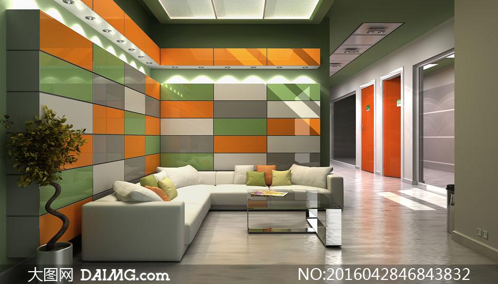 欧式豪华客厅房间内景摄影高清图片