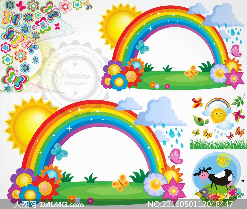 太阳彩虹云朵与奶牛等卡通矢量素材
