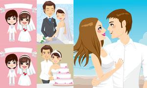 婚庆蛋糕与新娘新郎人物等矢量素材