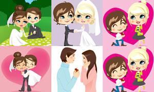 结婚新娘新郎与求婚的男女矢量素材