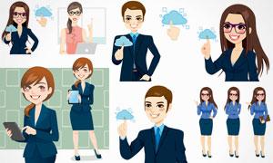 云计算创意与商务职场人物矢量素材