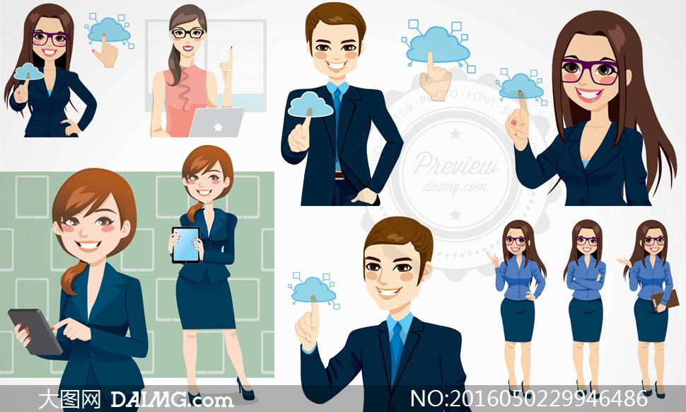 职业与休闲装扮的商务人物矢量素材