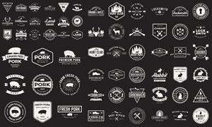黑白復古風格徽章標志等矢量素材V1