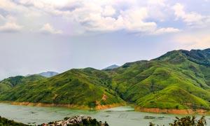 万峰湖风光全景图摄影图片