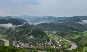 石潭村美丽风景全景摄影图片