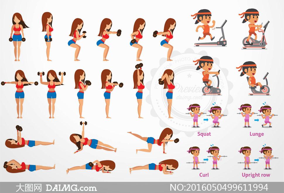 矢量图设计素材人物美女女人女子女性体育运动健身简