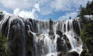 九寨沟瀑布美景摄影图片