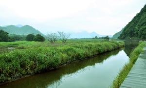山脚下绿色水草和河道摄影图片