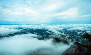 龙斗峰山顶唯美云雾摄影图片