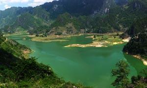 浩坤湖景色全景图摄影图片