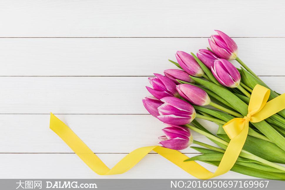 关 键 词: 高清大图图片素材摄影近景特写静物花朵鲜花丝带紫色黄色