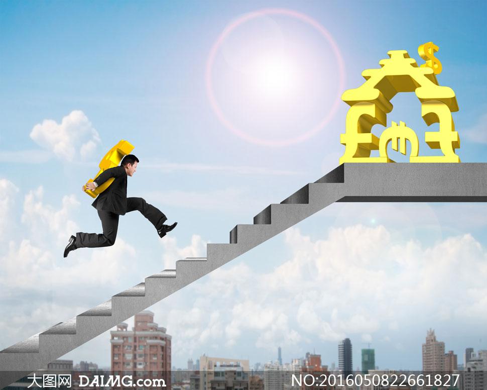 飞奔在财富阶梯的人物创意高清图片图片