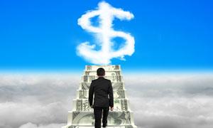 已踏上财富之路的人物创意高清图片