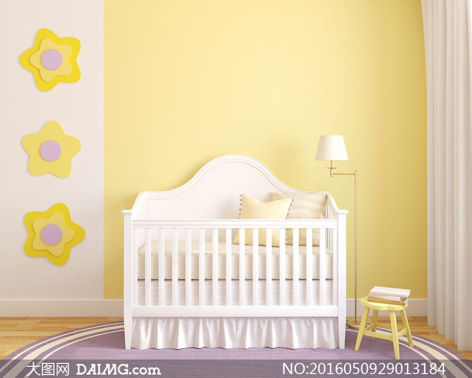 房间星星饰物与婴儿车摄影高清图片