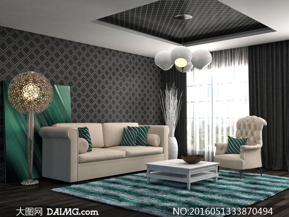客厅沙发灯具与干枝装饰等高清图片