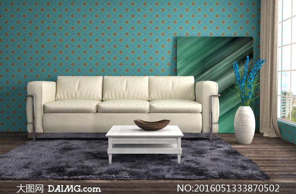 客厅房间里的沙发茶几布置高清图片