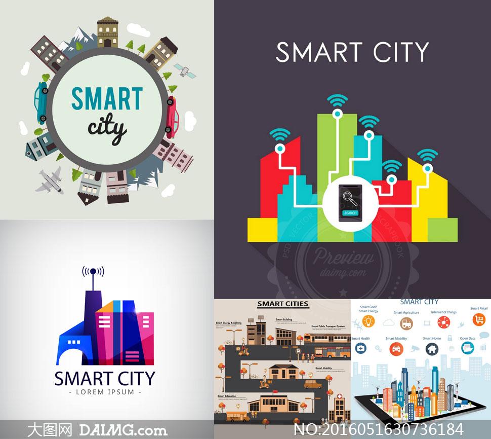 智慧城市主题创意设计矢量素材集v1