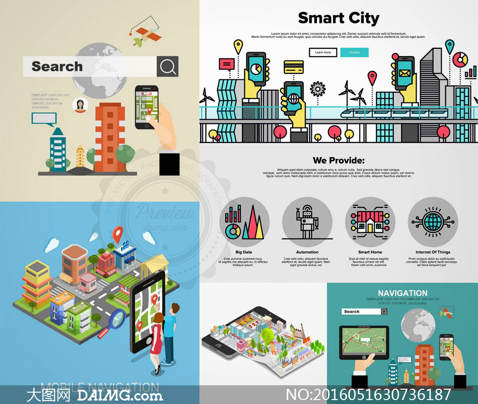 智慧城市主题创意设计矢量素材集v4