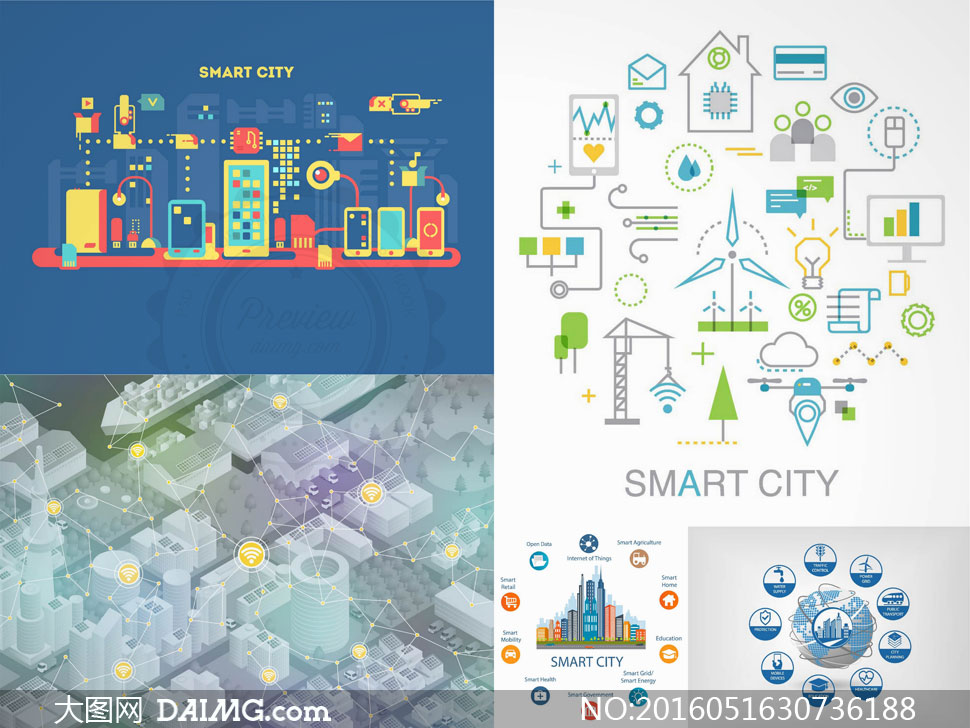 矢量素材矢量图设计素材创意设计智慧城市图标地球行业移动互联立体