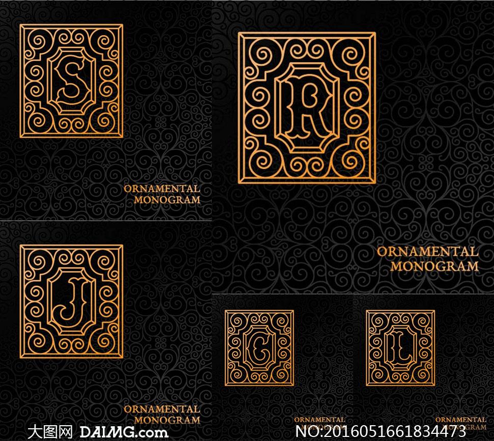 花纹图案装饰的英文字母矢量素材v5