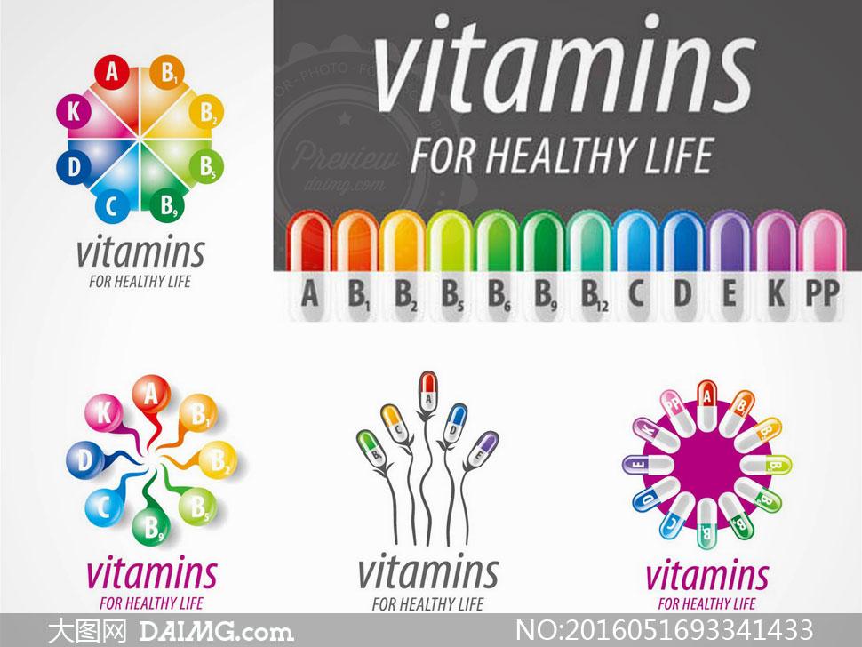 健康所需维生素主题创意矢量素材v3