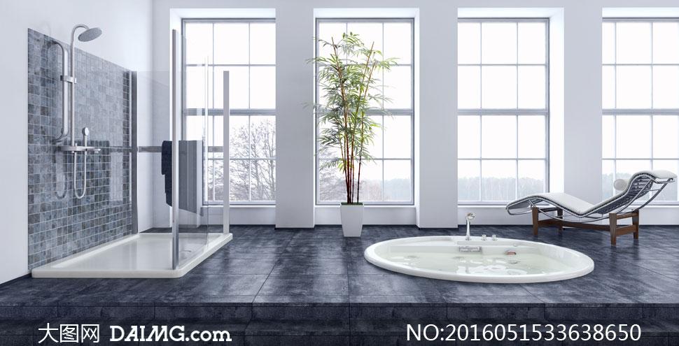 浴缸浴室地板台阶躺椅植物绿叶淋浴房淋浴间窗户