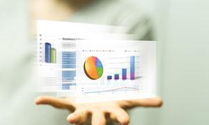 手心上的公司业绩报告创意高清图片