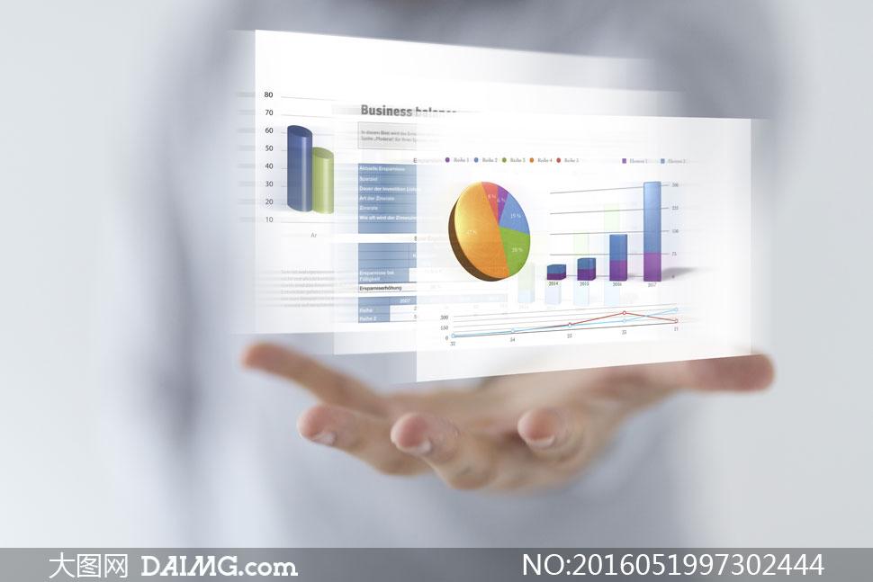 托在手心上方的统计图创意高清图片图片