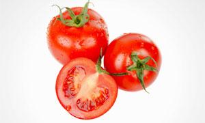 三枚红色的西红柿特写摄影高清图片