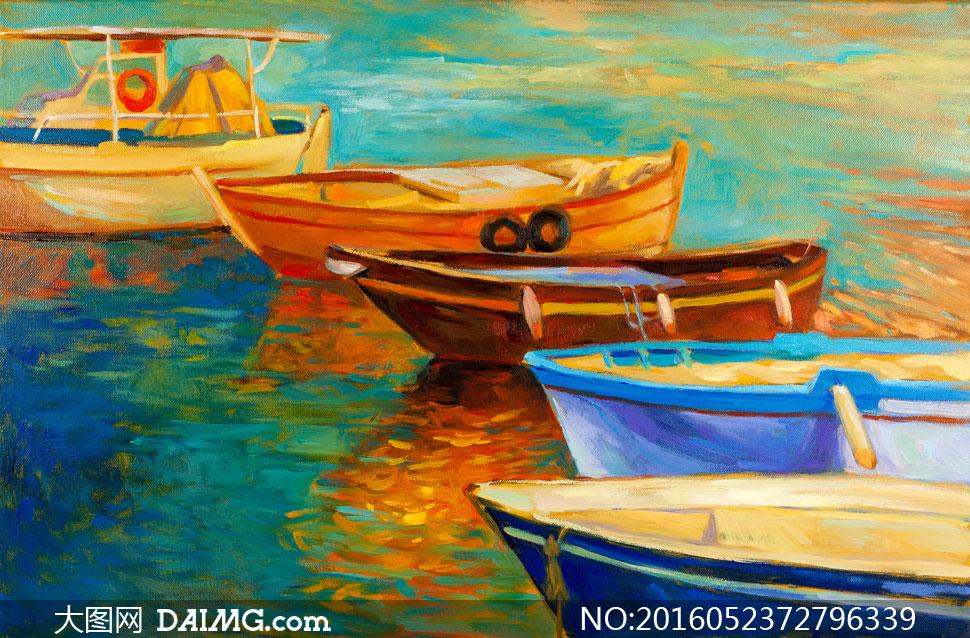 素材美术绘画艺术创意油画小船船只水面河面湖面湖水河水倒影游船木船