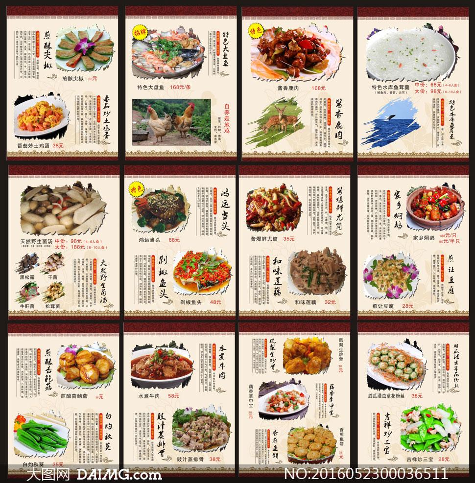 高档菜单模板羊肉v菜单素材酒店菜谱红烧矢量加盟图片