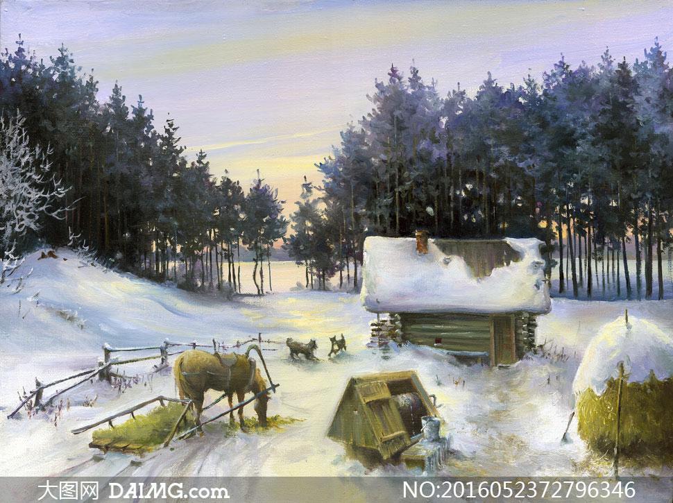 树林与雪中小屋风景画作品高清图片