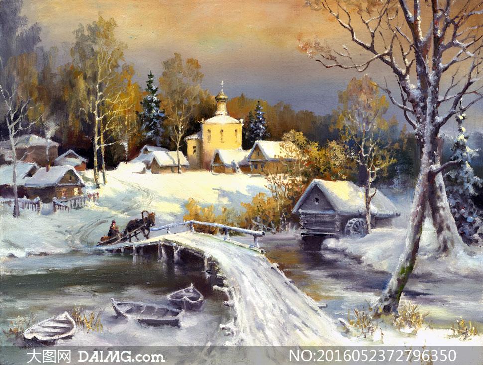 画树木大树雪后积雪白雪雪地冬天冬季小桥木桥流水河流小船船只木船房