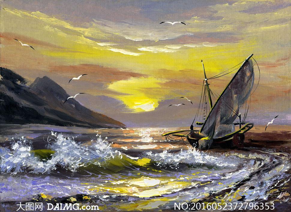 云彩大山与辽阔的大海油画高清图片