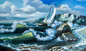 蓝天白云大海帆船油画作品高清图片