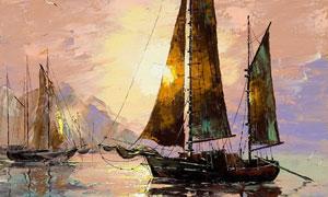 平静海面上的帆船油画作品高清图片
