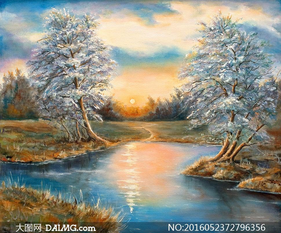 树丛与河边的大树风景油画高清图片 - 大图网素材da.