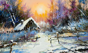 茂密树林与茅草屋风景油画高清图片
