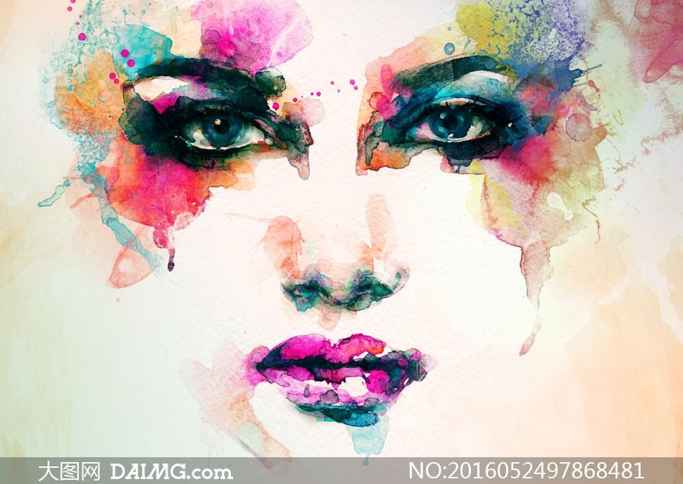 浓墨重彩的美女水彩画创意高清图片