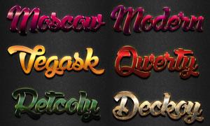 10款现代风格大气质感字体PS样式V4